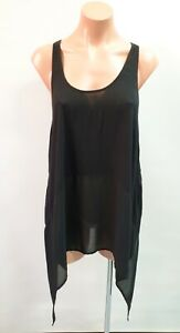 ❤️ BARDOT Sheer Sleeveless Asymmetric Tunic Top Black Size 12 Buy7=FreePost L810