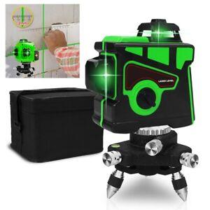 3D Niveau Laser Rotatif 360° lumière Vert 12 Lignes Précis Auto-nivelant FR