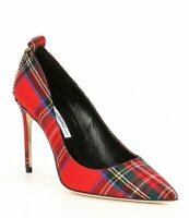 Brian Atwood VOYAGE Pointed Toe Plaid High-Heel Pumps Red Multi Dress Pumps