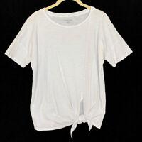 Eileen Fisher Size PP White Tie Front T-Shirt Top Slub Tee Organic Cotton Petite