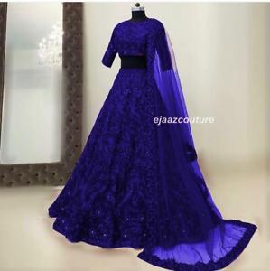 Wedding Lehenga Indian Women Bollywood Ethnic Party Wear Blue Silk Lengha Choli