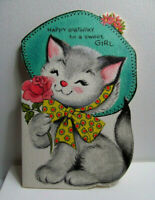 Vintage Birthday Card, Anthropomorphic Cat Wearing a Hat, a Forget-Me-Not card