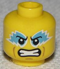 Lego New Yellow Minifig Head Medium Azure Eye Paint Clenched Teeth Pattern