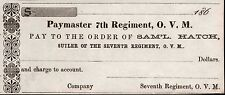 1862  CIVIL WAR SUTLER TOKEN ISSUER CHECK - 7th REGIMENT, OHIO VOLUNTEER MILITIA
