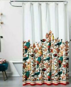 "Opalhouse FLORAL BIRD Shower Curtain ~ 72"" x 72"" ~ Teal Orange Gold"