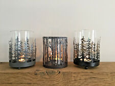 Christmas Tree Woodland Scene Candle Lantern Glass Reindeer Tea Light Holder