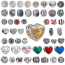 925 Silver Charms Love Heart Zirconia Bead For Sterling Bracelets Necklace Chain