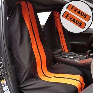Pair Throw Over Slip On Car Seat Cover Black Orange & Seat Belts Shoulder Pads