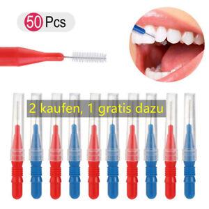 50Pcs Zahn Mundpflege Kunststoff Zahnbürste Hygien Interdentalbürsten Flossing.