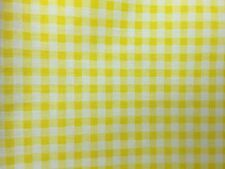 """Yellow White Mini Checkered Poly Cotton Printed Fabric - BTY - 59"""""""