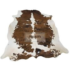 NEW X-LARGE TRICOLOR COWHIDE RUG 7'x6' Feet Cow Skin Rug Cow Hide Carpet