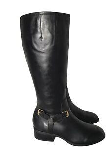 Lauren Ralph Lauren Black Leather Tall Side Zip w Buckle Riding Boots Size 9 B