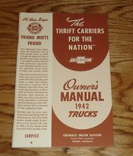 1942 Chevrolet Truck Owners Operators Manual 42 Chevy Pickup