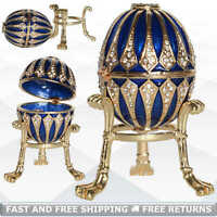 Faberge Egg Shaped Vintage Jewelry Blue Trinket Box Jeweled Crystals With Stand