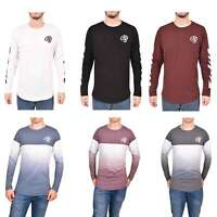 Mens Crosshatch Long Sleeve T Shirt Printed Crew Neck Cotton Soft Tee Top
