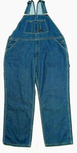 WALLS Mens Washed Indigo Denim Carpenter Bib Overalls Tag Size 50x30