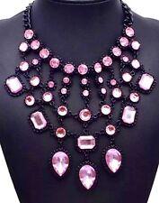 Large Boho Tribal Drop Statement Bib Black Pink Necklace Crystal Chain Birthday