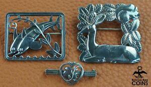 Lot of 3: Georg Jensen Sterling Silver Brooch DOLPHIN 251, DEER 318, & BIRD 282