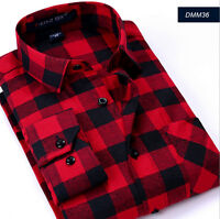 Men Classic Cotton Flannel Shirt Long Sleeve Casual Check Print Dress Top Red