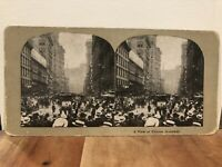"""Stereoview Photo Card """"View of Famous Broadway"""" Busy Street New York City NY"""