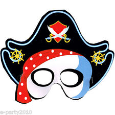 PIRATE PARTY PAPER MASKS w/ 3 DESIGNS (6) ~ Birthday Party Supplies Favors Prize