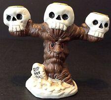 Ceramic Halloween Skull Candelabra Candle Holder Spooky Tree