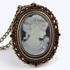 Cameo Watch oval Traditional 80cm Necklace Pocket Chain grey