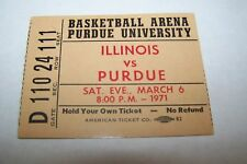 MARCH 6 1971 NCAA basketball ticket PURDUE vs ILLINOIS