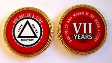 """Alcoholics Anonymous 7 Year Rope Edge Sobriety Coin Chip 1 3/4"""" - Red/Red"""