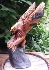 VTG Hand Carved Solid Wood Eagle Flight Rustic Sculpture Talons Gripping Log