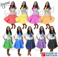 "Ladies 1950's COSTUME skirt 17"" Inch POLKA DOT Rock n Roll  SCARF FANCY DRESS UK"