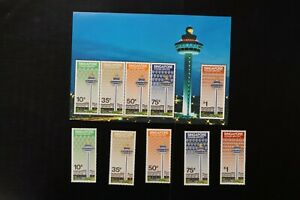 Singapore #382-6a 1991 airport VF MNH set + s/s 2017 cv$6.80 (d031)