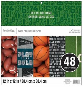 """New Recollections GET IN THE GAME 12x12"""" Paper Pad 48 Sheets Scrapbook Sports"""