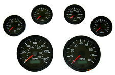 6 Gauge set, Speedo,Tacho (8KRPM),Oil,Temp,Fuel,Volt, black/black bezel, 001BB