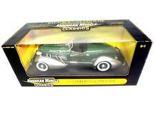 1935 Auburn 851 BoatTail Speedster 1/18 scale Ertl Model tu-tone Green & Silver