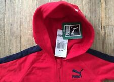 Nwt Puma Kids Zip-Up Hooded Jump Suit 6-9 Mos, Red/Navy, Unisex, Free Shipping