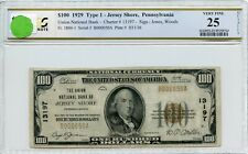 """FR1804-1 CH #13197 $100 1929 FRBN """"JERSEY SHORE"""" PCGS 25 VF (#63a DFP 7/18/20)"""
