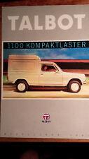 Prospekt Brochure Talbot 1100 Kompaktlaster 1981