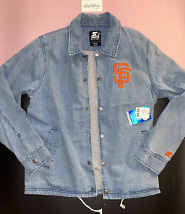 STARTER SF San Francisco Giants Blue Denim Jacket Mens Lg Baseball MLB Retro NWT