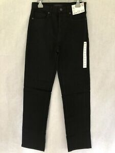 """Uniqlo Womens Slim Straight High Rise Jeans In Black Size 26 X 32"""""""