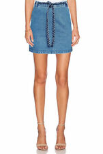 Denim Above Knee A-Line Solid Skirts for Women