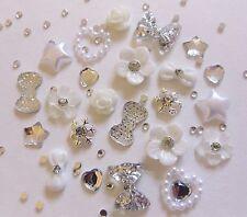 "24 x 3D Nail Art ""Xmas Silver White"" Rhinestone Flower Snowflakes Star Bow Alloy"