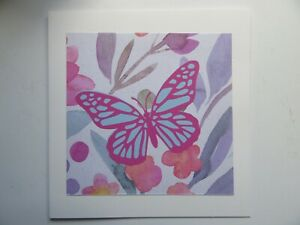 """Pink/Blue Butterfly/Floral 6""""x6"""" - Blank, For Any Occasion, Handmade Card"""