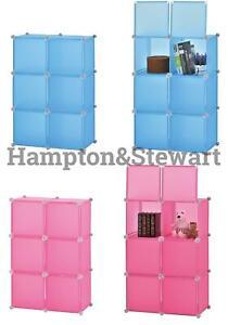 DIY Wardrobe Portable Plastic Modular Closet Cabinet Cube Organiser Blue/Pink