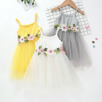 Toddler Kids Baby Girls Floral Princess Party Strap Tulle Dresses Clothes
