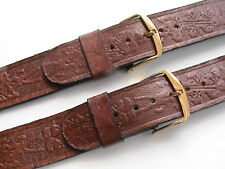 """2 WESTERN STYLE MENS VINTAGE,TOOLED BROWN SADDLE LEATHER 11/16"""" R WATCH STRAPS"""