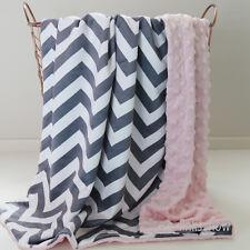 140*210cm Kid Minky Single Size Blanket Chevron Grey Pink