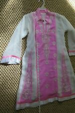 Girls kameez and pant suit, party wear, pink/white size 8-10 years