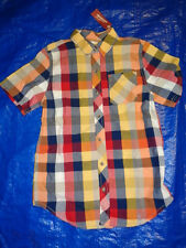 Boys multi colors yellow check short sleeve button front shirt NWT size XL 14/16