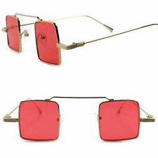 Classic Vintage Hipster Gothic Red Lens Gold Steampunk Small Square Sunglasses